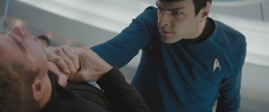 Spock uses vulcan nerve pinch (or is it the vulcan choke?)