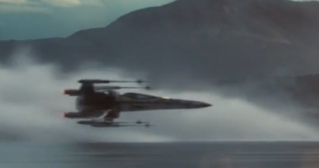 X-wing water skimming Star Wars The Force Awakens